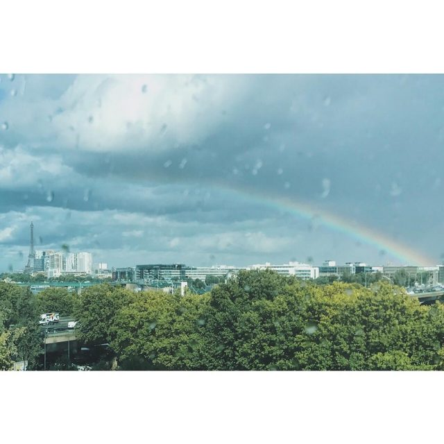 Paris yesterday paris eiffeltower rainbow latergram arcenciel toureiffel france rainhellip