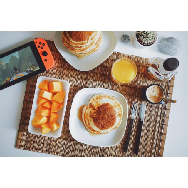 Sunny sunday Pancakes and Persimmon for a good morning Ihellip