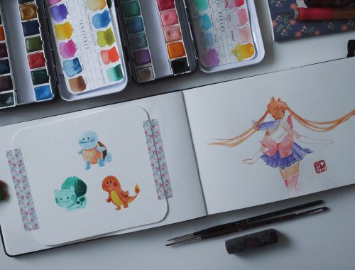 Sailor Moon & Pokemon (Salamèche, Bulbizarre, Carapuce) - Aquarelle